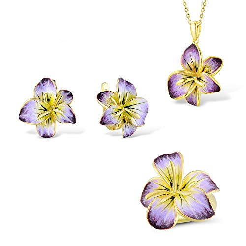 AdronQ®  JewelrySet für 925 Sterling Silber Gorgeous Blooming Flower Anhänger Ohrringe Ring Set Fine Jewelry HandmadeEnamel