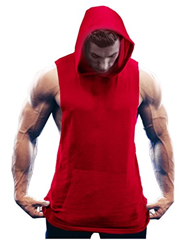 COOFANDY Men's Workout Hooded Tank Tops Bodybuilding Muscle T Shirt Sleeveless Gym Hoodies,Red,Small