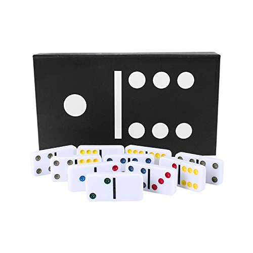 Deluxe Double Six Dominoes Family Fun Set Features Vibrant Coloured Dots on Smooth White Tiles with a Large Magnetic Storage Box