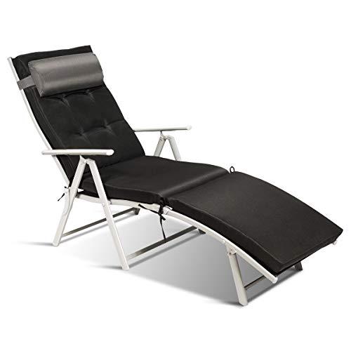 COSTWAY Sonnenliege klappbar, Liegestuhl mit 7 einstellbaren Rücklehnpositionen, Gartenstuhl, Relaxliege mit abnehmbarem Polster und Kissen, für die Terrasse, Garten und am Pool