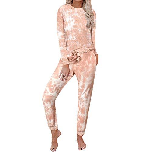 Home Set Herbst und Winter Tie Dye bedruckte Hose Langarm Split Damen Pyjama Gr. 36,...