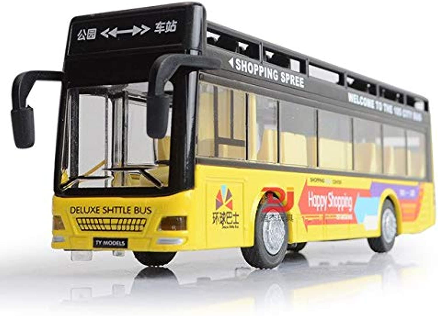 Generic Sale 21 cm Pull Back Bus Model High Imitation Double Sightseeing Bus Flash Light Toy Vehicle Cars for Boys Gift PGM124 Yellow