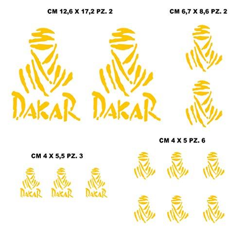 Aufkleber-Kit kompatibel mit DAKAR Motorrad Decal Sponsor Art.1212 Gelb (021 Giallo)