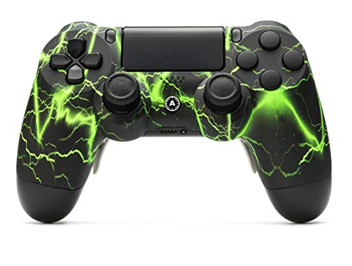AimControllers PS4 Custom Wireless Controller, PlayStation 4 Personalized Gamepad with 4 Paddles, Storm Green [video game] [video game]