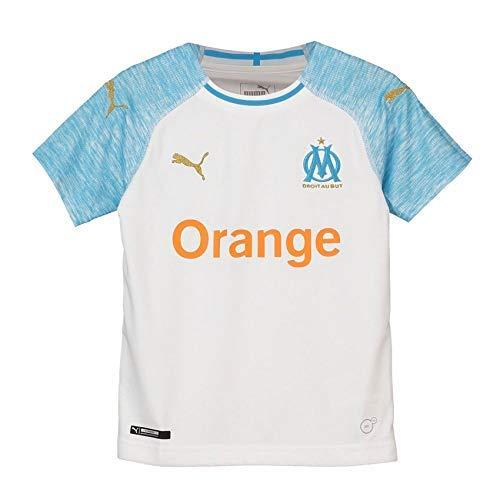 Puma Olympique de Marseille Home Shirt Replica Maillot Mixte Enfant, Blanc (White/Bleu Azur), 164