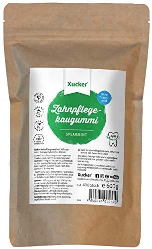 600 g Xucker Xylit-Kaugummi ohne TiO2, Spearmint | Zahnpflege mit Xucker | kann zur Zahnmineralisierung beitragen | zuckerfrei