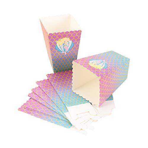 Amosfun 12 stks Popcorn dozen zeemeermin karton snoep container traktatie doos kinderen verjaardag bruiloft partij gunsten