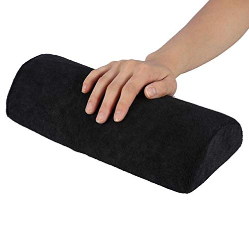 Reposamanos suave Almohada lavable para manos Soporte de almohada de esponja Reposabrazos Arte de uñas Manicura pequeña Reposamanos Cojín (negro) ESjasnyfall