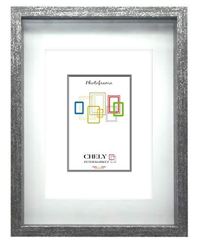 Chely Intermarket | Marcos con Profundidad de Madera 10x15 cm (Medida Interior de paspartú 7x10 cm) (Gris Salpicados) MOD-3503 | Estilo Vintage | Marco de Fotos para Decoración.(3503-10x15-0,25)