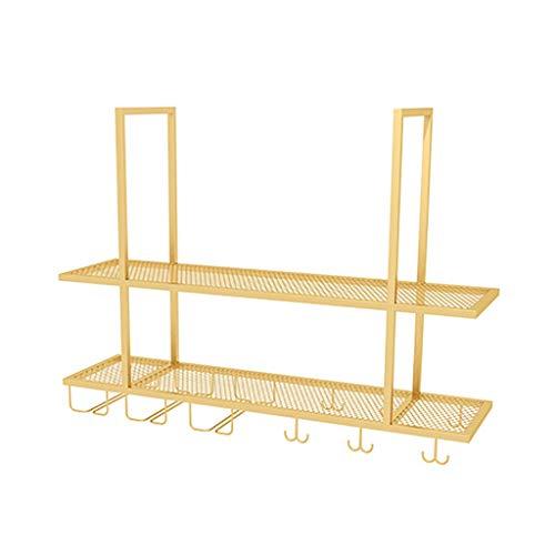 WWZWJ Zwevende plank Industriële Planken, Plafond Opknoping Wijnrek + Goblet Opslag Rack, Gouden IJzeren plank, Geschikt voor Restaurant/Bar/Huishouden