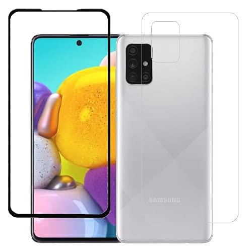 ECMERED® Anti-Fingerprint Screen Protector (Black) and Back Screenguard (Transparent) for Samsung Galaxy A71