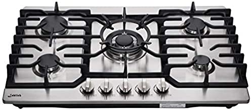 30 Inch Gas Cooktop LW5S01, Sealed 5 Burners Gas Cooktop,Stainless Steel Gas Cooktop, LG/NG Convertible,Heavy-Duty Grates Gas Stovetop,Gas Burner Thermocouple Protection