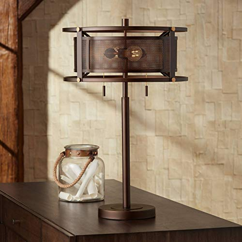 Derek Farmhouse Industrial Rustic Vintage Table Lamp Bronze Brown Metal Mesh Drum Shade Decor for Living Room Bedroom House Bedside Nightstand Home Office Entryway Family - Franklin Iron Works