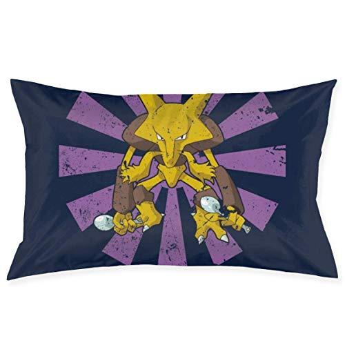 xuexiao Funda de almohada Alakazam retro japonés monstruo del bolsillo tamaño de 50 x 76 cm para el hogar, cama, habitación, funda de almohada decorativa