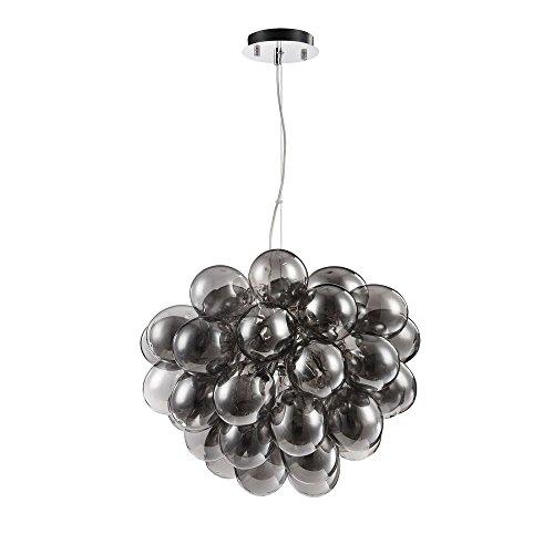 Moderne stylische Pendelleuchte getönte Glaskugel, chromiertes Metall, dekorative Luftballons aus schwarzem Glas, 8-flammig, Halogenlampen G9 28W nicht enthalten