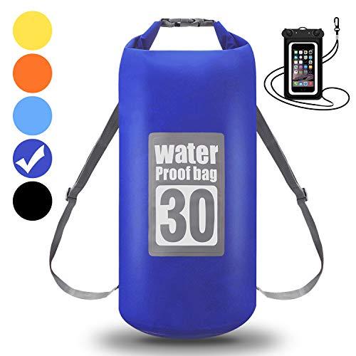 WIN.MAX Wasserdichte Wasserdichter Packsack mit Handybeutel, Blau, 5L