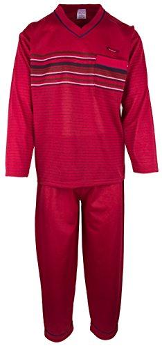 SOUNON - Herren Schlafanzug lang aus 100% Baumwolle mit V-Ausschnitt – Bordeauxrot, Groesse 3XL