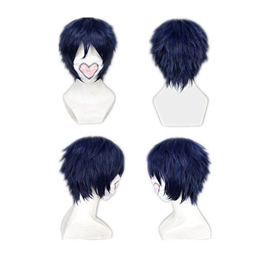 COSPLAZA Cosplay Wig Short Dark Blue Heat Resistant Anime Full Hair With Cap (Blue)
