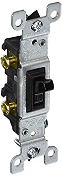Leviton 1451-2E 15 Amp 120 Volt Toggle Framed Single-Pole AC Quiet Switch Residential Grade Grounding Black