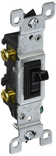 Leviton 1451-2E 15 Amp, 120 Volt, Toggle Framed Single-Pole AC Quiet Switch, Residential Grade, Grounding, Black