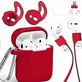 Mauri Funda AirPods de silicona compatible con auriculares Apple Earpods 2 y 1, Air-Pods Cover con soporte de carga inalámbrica y mosquetón, carcasa roja