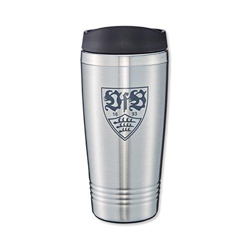 VfB Stuttgart–Taza térmica con Escudo 0,45L cantidad de Relleno de Acero Inoxidable, Color: Plata, para Bebidas Calientes o frías.