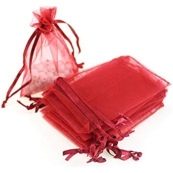 VandaSugar 100PCS 4x6 (10x15cm) Drawstring Organza Jewelry Favor Pouches Wedding Party Festival Gift Bags Candy Bags (Red)