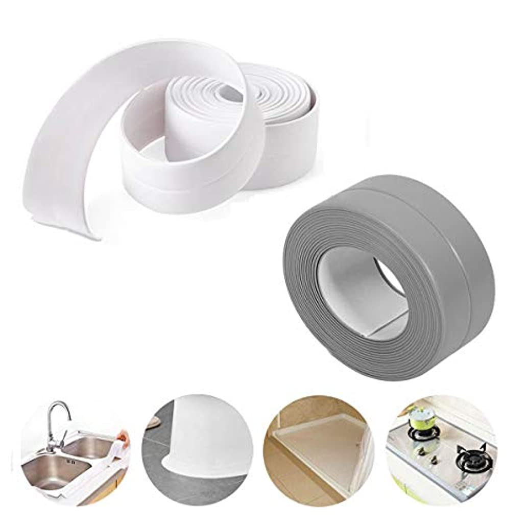 HotVindS 2 Pack 3.8cm X 320cm Waterproof Anti-Mildew Self Adhesive Decorative Sealing Caulk Strip Tape for Bathtub, Kitchen Sink, Toilet Wall - White & Gray