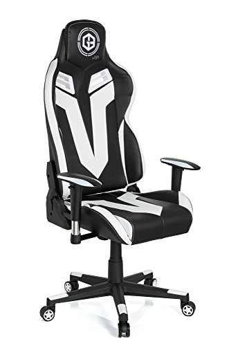 hjh OFFICE 734130 Gaming Stuhl GAMEBREAKER VR 12 Kunstleder Schwarz-Weiß Schreibtischsessel in Racing-Optik