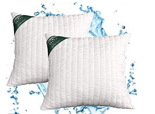 evergreenweb – Coussins Lit Paire Hauts 15 cm lavables en machine, 2 oreillers canapé Ameublement Maison ou extérieur avec rembourrage flocon Super Soft Doux Effet plume d'oie 45 x 45 cm