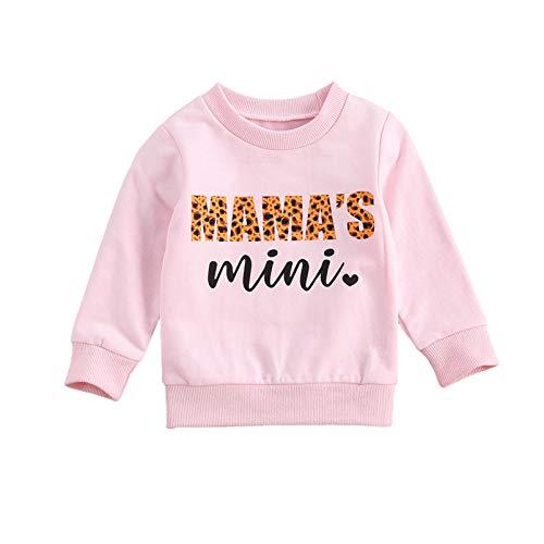 WangsCanis Kleinkind Baby Mädchen Jungen Mamas Mädchen Brief Gedruckt Langarm Sweatshirt Lässige Pullover Bluse Tops 0-6 Jahre Kleidung (Mama's Mini Rosa, 2-3 Jahre)