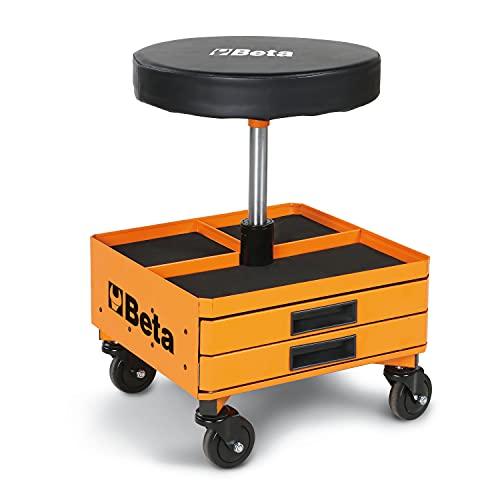 Beta 22510011, Schwarz/Orange 2251-O Drehhocker, Drehstuhl für die Werkstatt (runder drehbarer Sitz mit Höhenverstellung durch Gaskolben, viereckige Basis inkl. 3 Schubladen, 4 Lenkrollen)