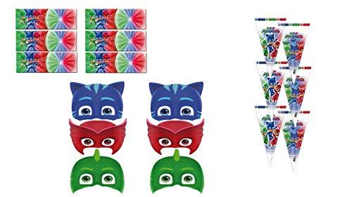 PJ Masks 0481, Pack Invitados Fiestas y Cumpleaños, 6 caretas, 6 Conos para chuches,...