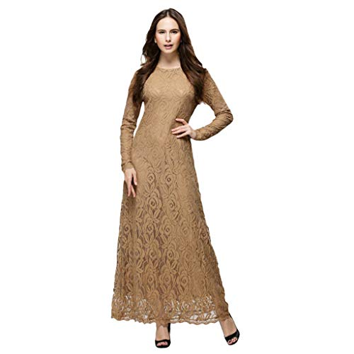 AIni Damen Muslimische Kleider,Elegante Abaya Kleidet Abendkleid Hochzeit Abaya Festlich Partykleid Moslemische Lose Normallack Robe Die Islamischen Arabischen Kaftan (L,Kaffee)
