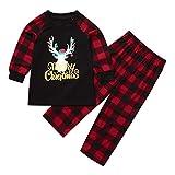 Cuteelf Kinder Langarm Baby Mädchen Jungen Weihnachten Deer Top Hosen Familie Pyjamas Weihnachten Deer Brief Plaid Print Top + Hosen Weihnachten Family Pack Home Service Set