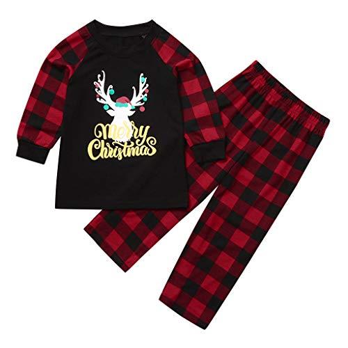 Fenverk Weihnachten Familie Outfit Set Matching Lange Ärmel Bluse + Plaid Lange Hosen Pyjama Set Xmas Schlafanzüge Nachtwäsche Feiertag Suit für Dad Mom Kinder Mädchen Jungen (B,Mom : L)
