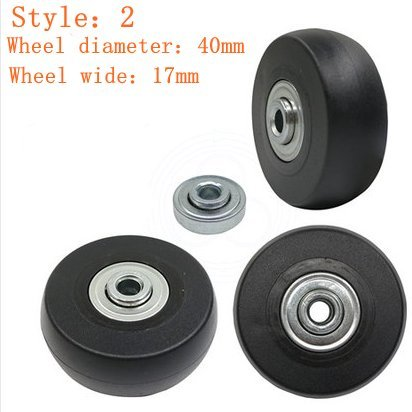 Best Deals! Yaphetss 1 Pair Luggage Suitcase Replacement Rubber Wheels (Style 2, 40mmx17mm)