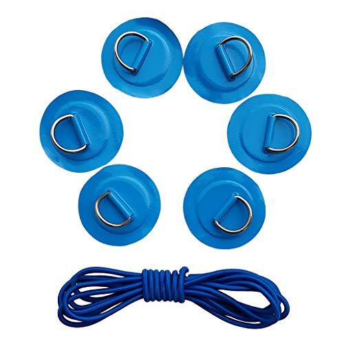 SM SunniMix Augplatte mit D-Ring Deckenhaken selbstklebend Pad Patch für Kajak Kanu Boot 6er Pack - Blau