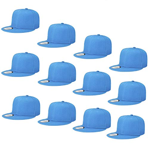 Falari Wholesale 12 Pack Snapback Hat Cap Hip Hop Style Flat Bill Blank Solid Color Adjustable Size G212-09-Skyblue