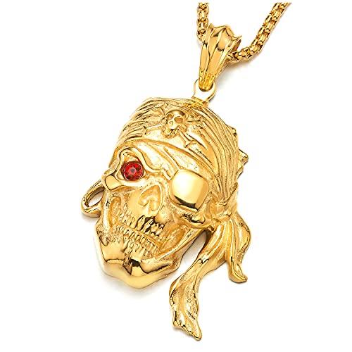 COOLSTEELANDBEYOND Biker Hip-Hop Collar de Color Oro Vikingo Pirata Cráneo, Colgante de Hombre, Acero Inoxidable con 75cm Cadena de Trigo