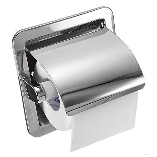 Xhtoe Portarotolo da Cucina Supporto da Incasso per Rotolo di Carta Igienica Supporto Caricato in Nichel Spazzolato per Bagno WC Cucina
