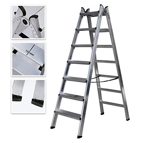 Escalera Doble Acceso de Aluminio Peldaño Ancho Soldado (7 Peldaños)