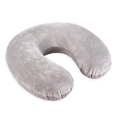Schramm® Nackenkissen 5 Farben wählbar Reisekissen Nackenhörnchen orthopädisches Nackenstützkissen Memory-Schaum Travel Neck Pillow, Farbe:grau