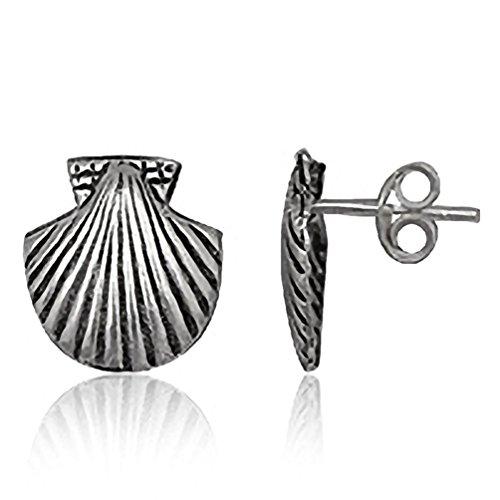 EYS JEWELRY Damen-Ohrstecker Jakobsmuschel 925 Sterling Silber oxidiert 13 x 12 mm Ohrringe