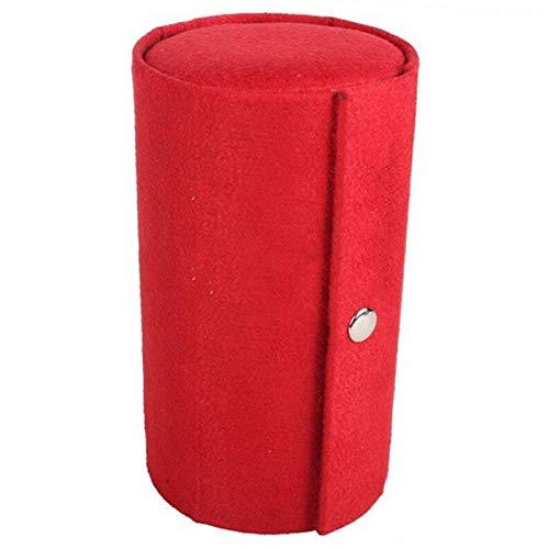 Organizador de Caja de joyería 3 Capas de Terciopelo Viajes Chic pequeña joyería Roll Collar Collar Ore Anillos Caja Caja joyería Organizador (Color : Red)