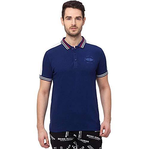 Being Human Half Sleeves Cotton Lycra Regular Fit Mens T-Shirt (S21BHP21022NAVY005, Navy, Medium)