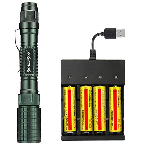 thor fire 18650 Flashlight 4PCS 3.7V 5000m.A.h Lithium 18650 Rechargeable Battery with 4 Slot USB Battery Charger,High 4000 Lumen Zoomable Flashlight for Camping Hiking (Green)