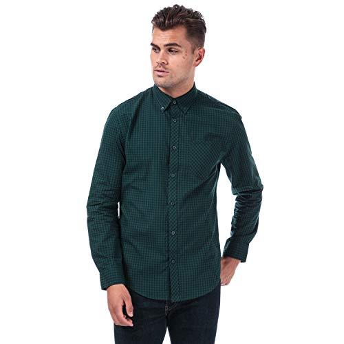 Mens Ben Sherman Small Gingham Shirt in Green