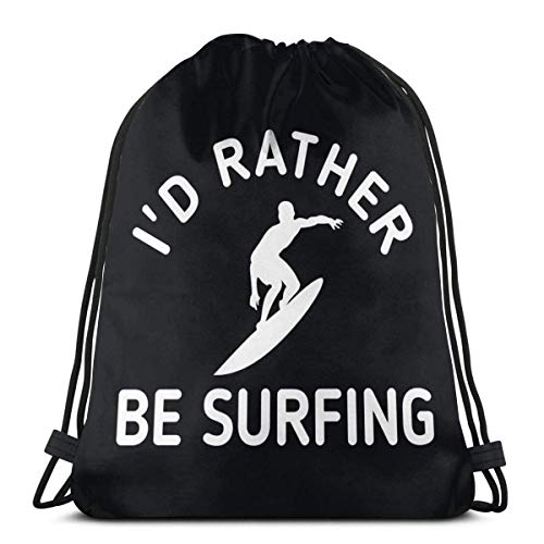 I'D Rather Be Surf Mochila con cordón para deporte, gimnasio, mujeres, hombres, niños, senderismo, yoga, natación, viajes, playa, bolsa de gimnasio con cordón de 36 x 43 cm
