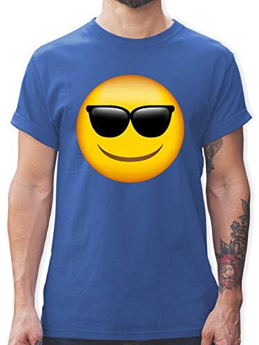 Comic Shirts - Emoticon Sonnenbrille - 3XL - Royalblau - lustige t-Shirts - L190 - Tshirt Herren und Männer T-Shirts